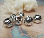 Silver Pewter Large Hole Basketball Beads 6 per bag