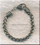 Woven Chain Bracelet with Fancy Heart Clasp, Antiqued Silver Finish