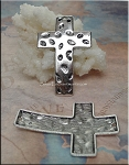 6 Silver Pewter Hammered Cross Connectors 52x34mm