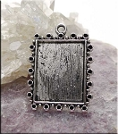 10 Silver Pewter Inlay Frame Charms Bezel Pendants 32x24mm