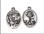 Silver Pewter Holy Family Communion Medallions 25x15mm 10 per bag