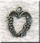 Fancy Heart Charm with Flowers Antique Silver 20x16mm