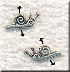 Silver Pewter Snail Beads 3D 6x15mm 20 per bag