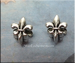 Silver Pewter Fleur-de-lis Big Hole Beads 11x8mm 10 per bag