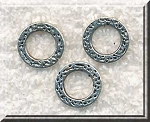 Silver Pewter Textured Round Rings 13mm 15 per bag