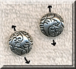 Silver Pewter Fancy Patterned Puff Coin Beads 12mm 15 per bag