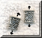 Silver Pewter Spiral Rectangle Beads 8x7mm 20 per bag