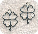Silver Lucky Four Leaf Clover Necklace, Shamrock Jewelry