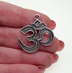 Om Pendant, Antique Silver
