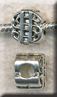 Silver Pewter Dollar Sign Large Hole Beads 13x11x9mm 10 per bag