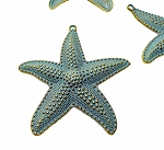 Extra Large Starfish Pendant with Verdigris Patina, 63mm Sea Star