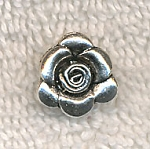 Silver Pewter Rose Charms with Hidden Bail 14mm 10 per bag