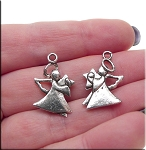 Tibetan Silver Angel Charms, Pewter Double Sided Angel Charms, Bulk (10)