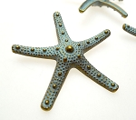Extra Large Starfish Pendant Necklace with Verdigris Patina