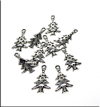 Christmas Tree Charms with Stars, Antique Silver (10)