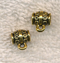 Decorative Tube Slider Bails with 3.5mm Hole, Antique Gold (15)