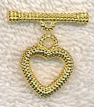 Dotted Heart Toggle Clasps, Bright Gold Finish (10)
