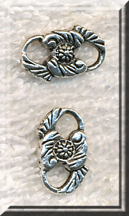 Floral Jewelry Link Connector Findings, Antique Silver (10)