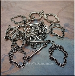10 Silver Pewter Elegant Leaf Toggle Clasps with Marcasite look