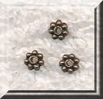 4mm Daisy Spacers, Antique Copper Finish (100)