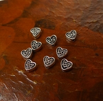 Celtic Heart Beads, Antique Silver Celtic Beads (30)