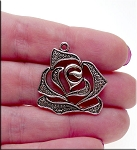 Elegant Rose Pendant, Antique Silver Finish