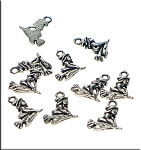 Silver Pewter Witch Charms 18x14mm 10 per bag