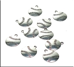 Baseball Charms-Pendants, Double-sided Antique Silver (10)