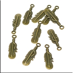 Brass Feather Charms, Double Sided Feather Pendants, Antique Brass Plated Finish Bulk (10)