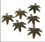 Wholesale Large Brass Marijuana Pendants, Cannabis Leaf Pendants Bulk (6)