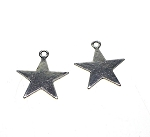 Antique Silver Pewter Pentagram Star Charms 10 pieces