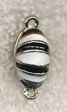 Magnet Clasp, Enameled Black and White Oval Magnetic Jewelry Clasp