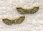 Fancy Angel Wing Beads, Antique Gold Finish 22x7mm, Bulk (10)
