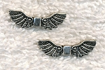 Fancy Angel Wing Beads, 22x7mm, Antique Silver (10)