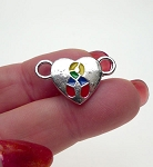 Heart Autism Jewelry Connectors, Autism Awareness Jewelry Finding with Multicolor Enameled Ribbons (5)
