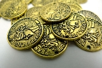 Gypsy Coins, 15mm Gypsy Jewelry Coins, Antiqued Gold Finish (1)