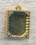 Inlay Bezel Frame or Picture Frame Charm Pendant Bright Gold Finish