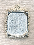 BBezel Picture Frame Pendants, Bright Silver Pewter (10)