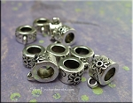 Flower Large Hole Bails, Flower  Big Hole Bails, Antique Silver (10)