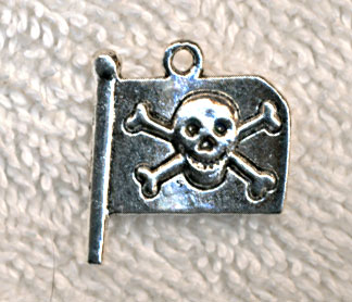 Pirate Flag Charm with Skull and Crossbones, Tibetan Silver Jolly Roger, Pirate Jewelry