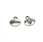 Grow Word Charm with Flower Double Sided Antique Silver Small Oval 13x11mm