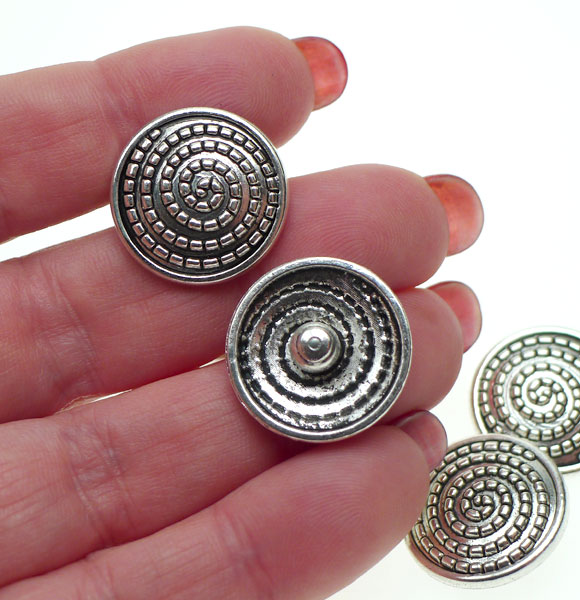Spiral Rivet Button for Leather Craft 20mm Antique Silver