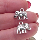 Silver Elephant Earrings, Double Sided Elephant Jewelry