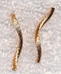 Gold Striped Curvy Noodle Beads, Jewelry Noodles (20)