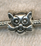 Cat Large Hole Beads, Antique Silver (6)
