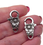 Silver Pewter Flower Jewelry Clasps, Floral Lobster Clasps 24x13mm 5 per bag