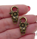 Flower Lobster Clasp Floral Trigger Clasp with Antique Brass Finish 24x13mm Large Jewelry Clasps