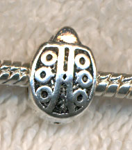 Antique Silver Pewter Ladybug Large Hole Beads (1)