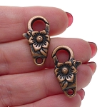 Copper Flower Lobster Clasp, Floral Trigger Clasp