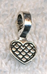 Silver Pewter Heart Glue-on Bails 16x8mm 20 per bag